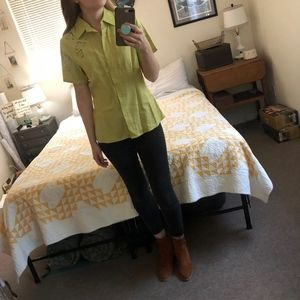 Notations Lime Green Short Sleeve Button-Down